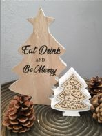 'Eat Drink And Be Merry' Double Christmas Tree Shelf Sitter Wooden Plaque